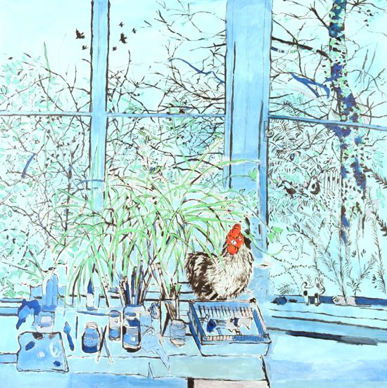 Philip Sutton  Leamington Cockerel oil on canvas 61 x 61in 1999  £39,000