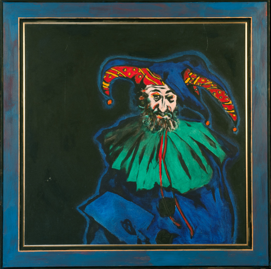 Philip Sutton The Clown! oil on canvas  42.5 x 42.5 in 1991 £20,000
