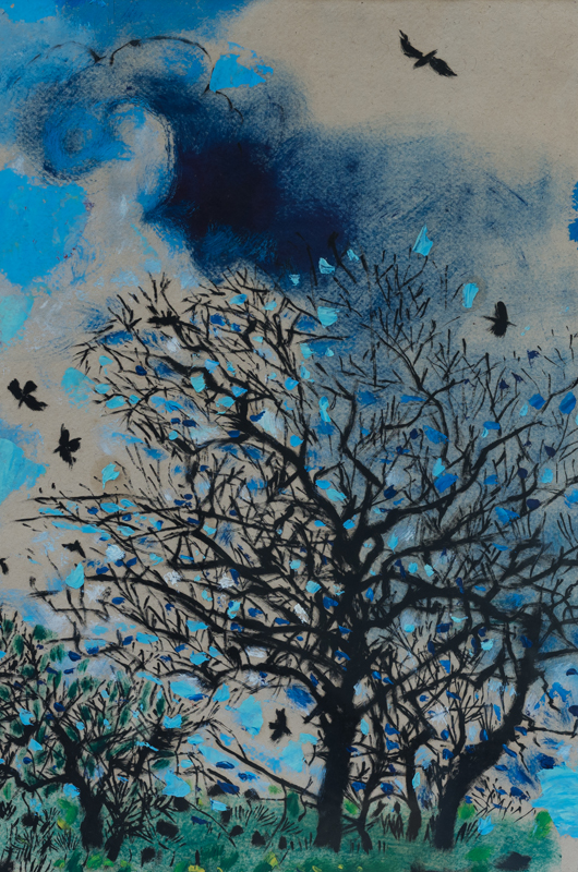 Tree with Rooks  pastel watercolour and ink on paper  54 x 37 cm  21 x 14.5 inches  £4,000
