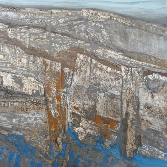 Jan Walker  Cliffs of Strength and Vulnerability  90 x 90 cm Acrylic on canvas  £1,800