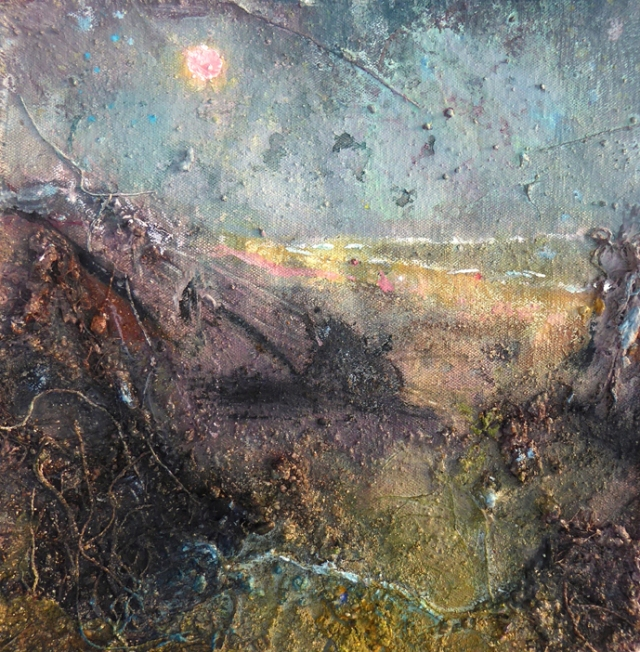 Frances Hatch 15 Drizzled Moon  Cogden Chesil  made on location at the National Trust car park, Cogden  2016  acrylic and site material on unstretched canvas  31 x 31 cm  £550