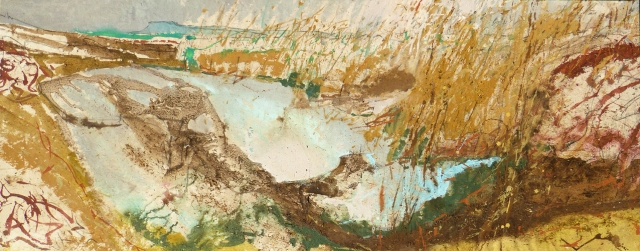 Frances Hatch 26 Accompanied by a Coot in the Reed Beds  made on location at Burton Mere, Chesil  2017  Mere materials with acrylic on  canvas  65 x 165 cm  £3200
