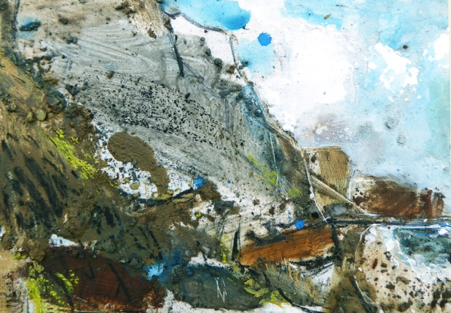 Frances Hatch 29 Eype Fallen Forest Marble Limestone  made on location at Eype Mouth July 2016  gouache and underclass material on gessoed board  26 x 30 cm  £490