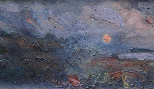 Frances Hatch 3 Mackerel Moon  made on location at West Bexington  site materials and acrylic on unstretched canvas  September 2016  58 x 88 cm  £2300