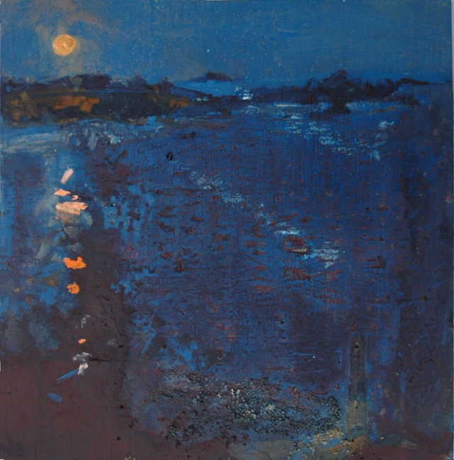 Frances Hatch 5 Royal Houmet Moon  made lookinging on to the Island of Houmet Paradis, Guernsey  November 2016  acrylic and island earths on found wood  68 x 65 cm   £1800