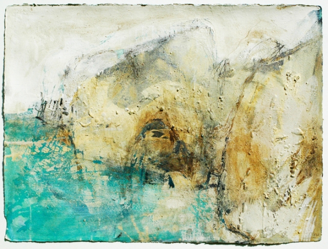 Frances Hatch  Coccolith Cloud  Handfast Point  Studland  2012  acrylic and cliff materials on paper 57 x 76 cm  £1800