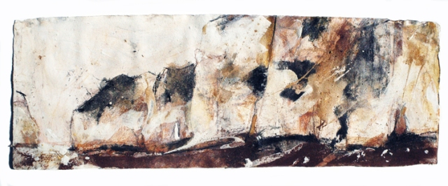 Frances Hatch  St Lucas' Leap (along the low tide line towards Old Harry) 2013  cliff materials on Khadi paper 49 x 136 cm  £1800