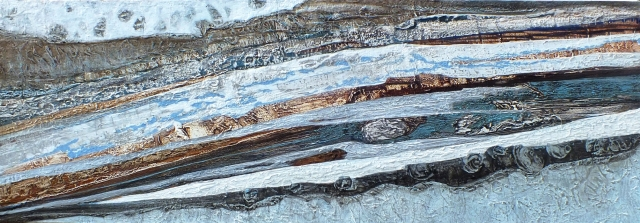 Rhythms of Flowing Time 35cm x 100cm Acrylic on canvas JAN WALKER