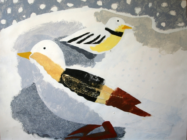 Tim NIcholson 12. Snow Buntings c1998  oil on paper 1990-62A 76 x 102 cm £4400