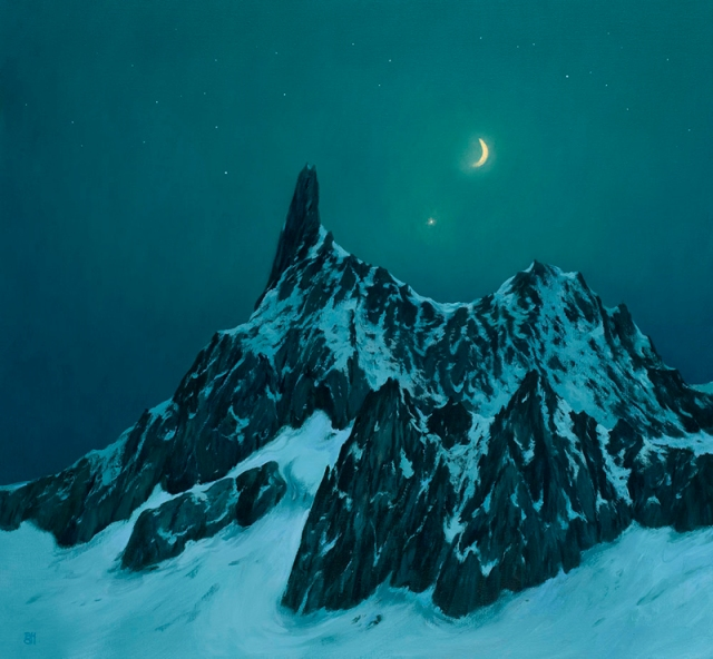 Michel Bennallack Hart  Moon Mountain Mont Blanc (The Devil's Tooth)  76 x 81 cm  oil on canvas £4,250
