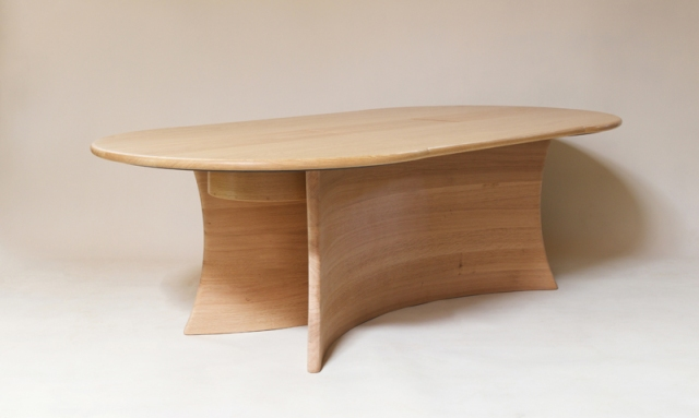 Petter Southall  Screen Desk  240 x 120 cm  solid oak steambent and oiled  2016  made to commission