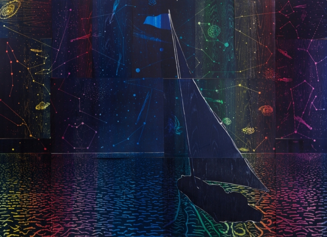 Tom Hammick 16. Voyage North  2012  reduction woodcut and hand painting  edition 7 of 7  191 x 261 cm  75 x 103 inches  POA