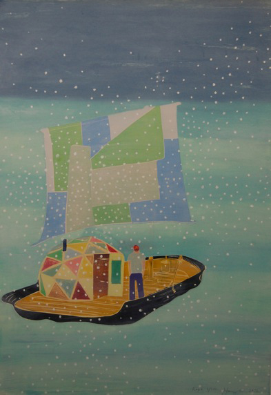 Tom Hammick 23. Raft  (single sheet)  2012  Reduction woodcut with handpainting edition 3 of 3  120 x 80 cm £3500 exc frame