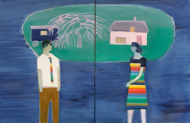Tom Hammick 9. Floating Island  2016  oil on canvas diptych  81 x 122 cm (together) 32 x 48 in (together) £7500