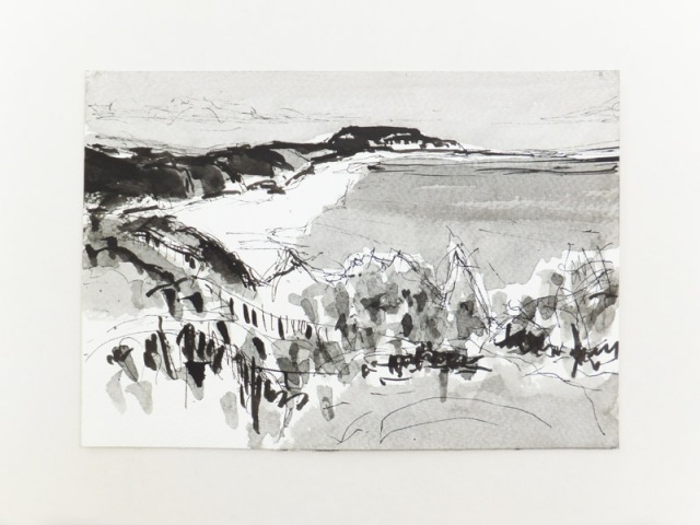 MB - Dorset Coastline Drawing 1 ( Hengistbury Head ) Ink and wash 15 x 21 cm 2017