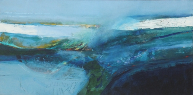 Martyn Brewster Blue Horizon 45 x 90 cm acrylic on canvas £4500 2017