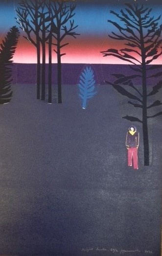 Tom Hammick Night Garden 2015 woodcut 91 x 60 cm edition number 30 of 30 last copy framed £1650