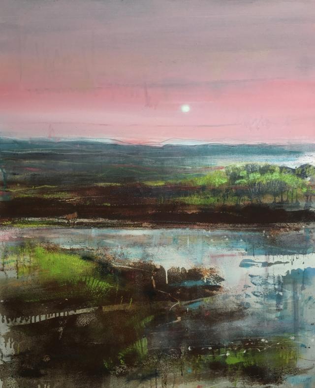 Anthony Garratt 3. Moorland Pool Evening 120 x 100 cm acrylic oil rust on canvas £4000