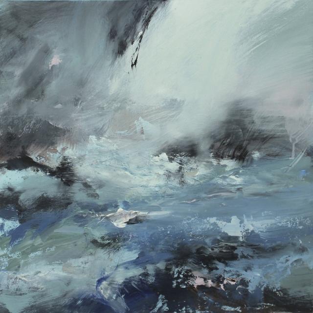 Janette Kerr Jostling for space - Fuglefjorden  oil on panel  58 x 58 cm  £3,500