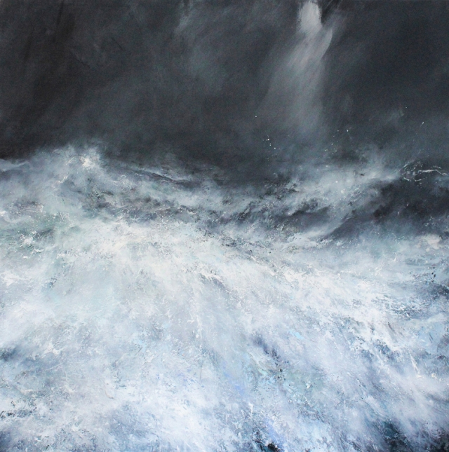 Janette Kerr Facing the Fury Hurricane Abigail Shetland oil on canvas 150 x 150 cm £poa