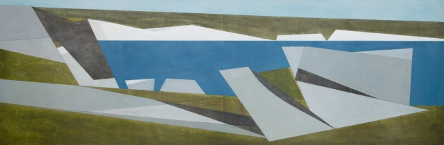 Vanessa Gardiner Quarry Edge 25 2018 acrylic on plywood 61 x 183 cm