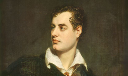 Lord Byron (1814) by Thomas Phillips detail