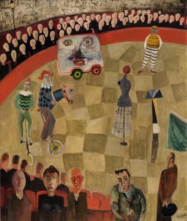 Simon Quadrat Circus Ring with Mannequin 65 x 54 cm oil on canvas  £3,800