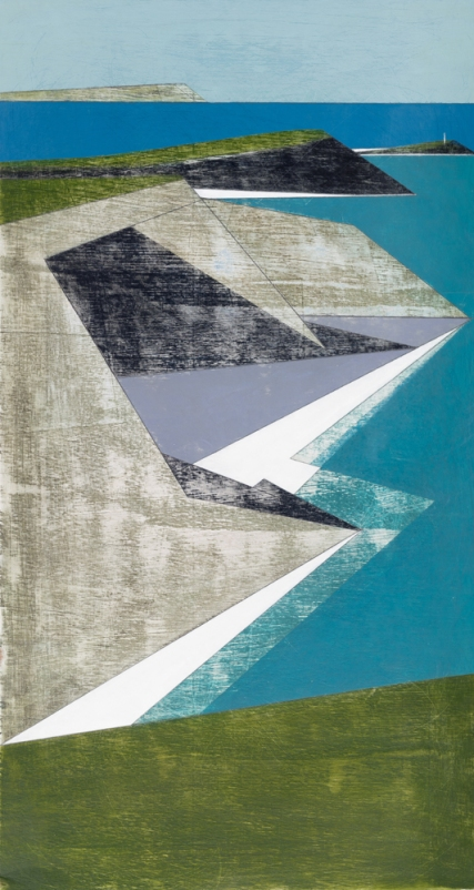 Vanessa Gardiner Godrevy Point 21 2018 acrylic on plywood 60 x 32 cm