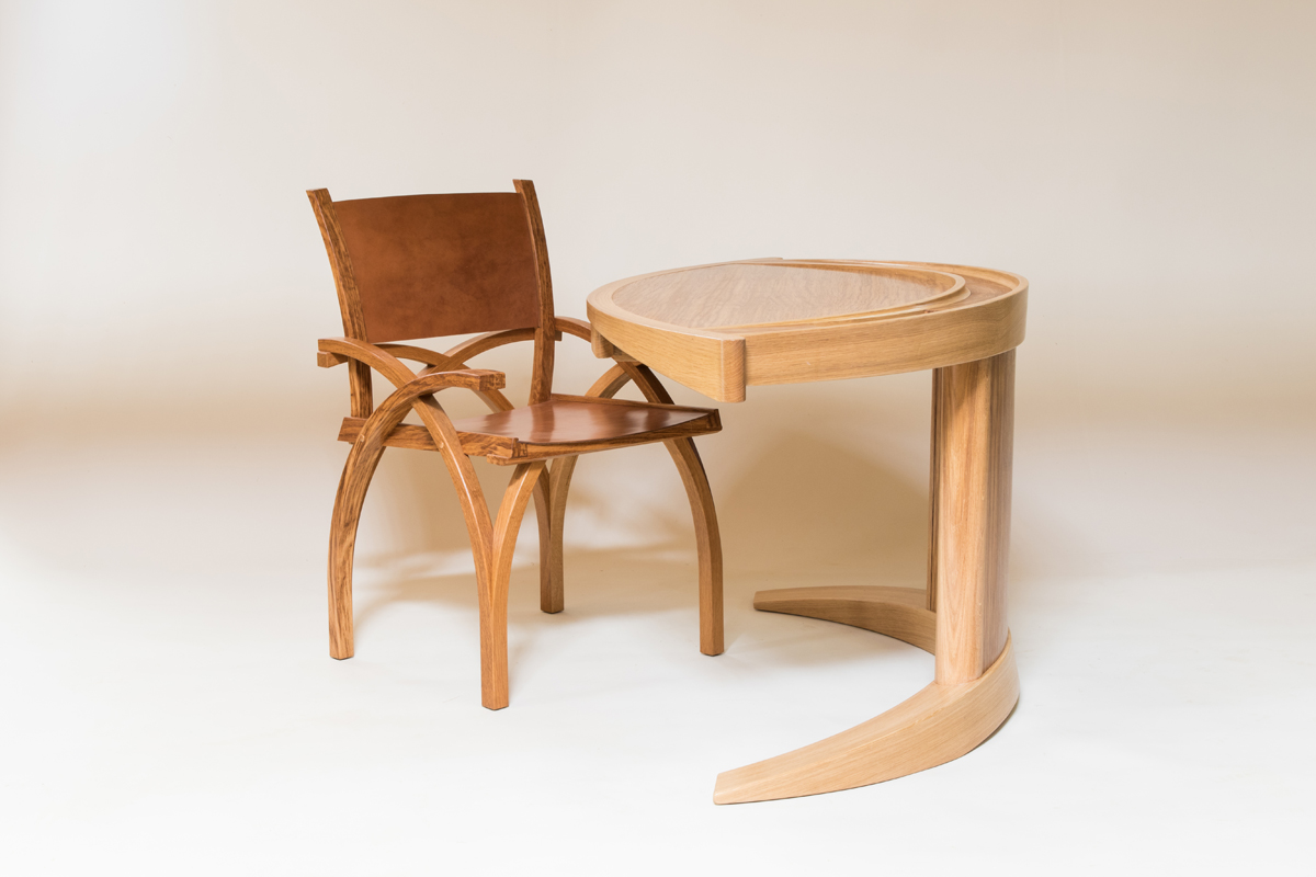 WEB Petter Southall Small Screen Desk with Treble Zero Chair in solid oak steam bent curves and oak bark tanned leather