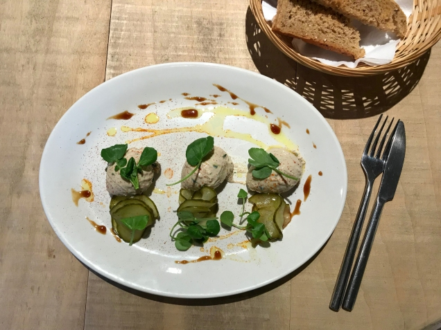 Smoked mackerel pate with pickled cucumber