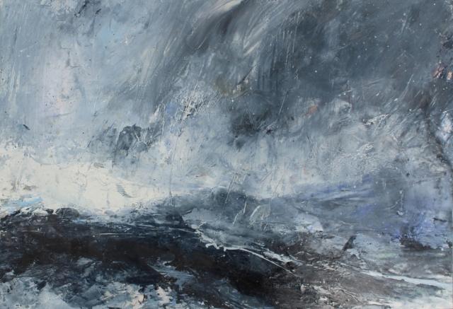 J Kerr Rain at Sea Shetland 2018 oil on paper 22 x 32 cm