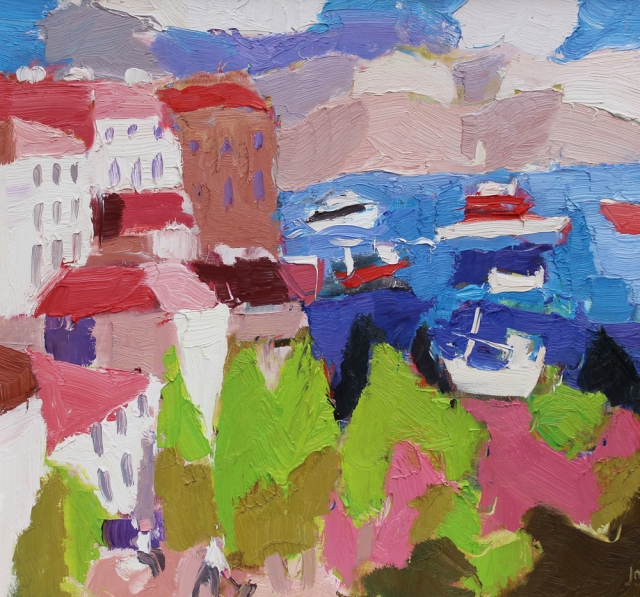 Julian Bailey Corfu port from the old town 15 x 16  oil on board