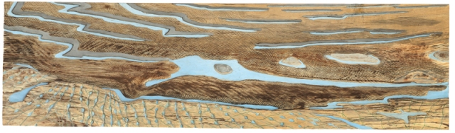 Carved relief of the foreshore at low tide carved in spalted birch by David West and painted.