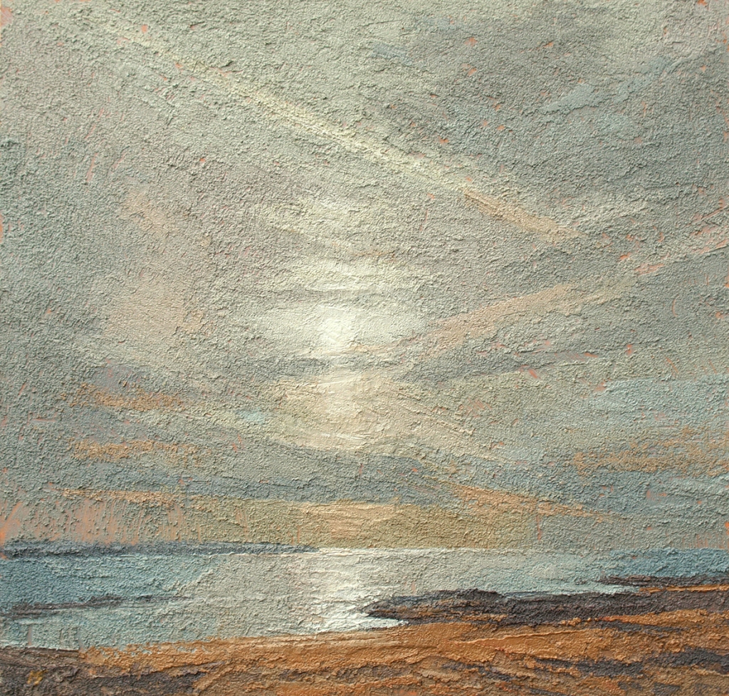 13. Donegal - Aranmore and Clouded Sun II    oil on paper on board   34x35.5cm  £2,850